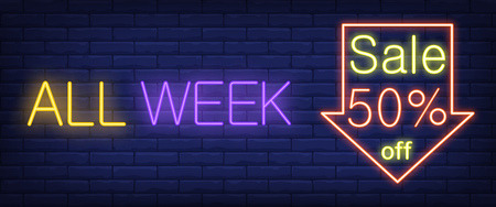 All Week Sale Fifty Percent off neon sign. Arrow down on brick wall background. Vector illustration in neon style for special offers and promo
