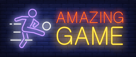 Amazing game neon sign. Football player kicking ball on brick wall background. Vector illustration in neon style for sport bars and channels