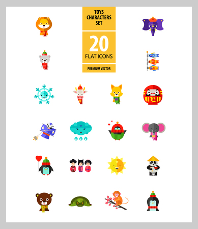 Toys characters icon set. Elephant, bear, penguin, fox. Cartoon concept. Can be used for topics like art, application, animation