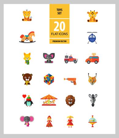 Speelgoedpictogrammen met Rubics-kubus, zweefmolen en olifantspeelgoed. Dertien vector iconen Vector Illustratie