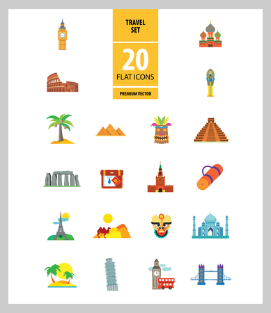Travel line icon set. Eifel tower, suitcase, tourist mat, mountains, palms. Tourism care concept. Can be used for topics like sightseeing, hiking, trip, journey, vacation