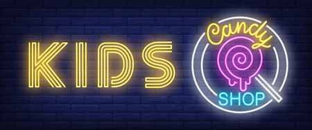 Kids candy shop neon sign. Lollypop on brick wall background. Vector illustration in neon style for confectionery and sweet store