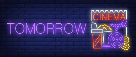 Tomorrow cinema night neon sign. 3D glasses on brick wall background. Vector illustration in neon style for movie announcing