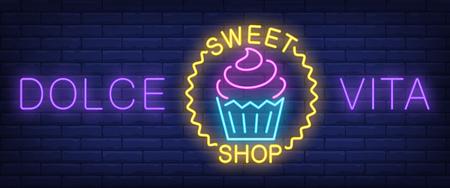 Dolce Vita Süßwarenladen Leuchtreklame. Cupcake im Wellenkreis auf Backsteinmauerhintergrund. Vektorillustration im Neonstil für Süßwaren und Bäckerei
