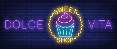 Dolce vita sweet shop neon sign. Cupcake in wave circle on brick wall background. Vector illustration in neon style for confectionery and bakery
