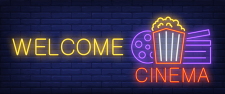 Welcome cinema neon sign. Popcorn box, film reel, clapper on brick wall background. Vector illustration in neon style for premiere invitation or cinema house opening