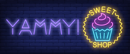 Yammy sweet shop neon sign. Cupcake in wave circle on brick wall background. Vector illustration in neon style for confectionery and sweetshop