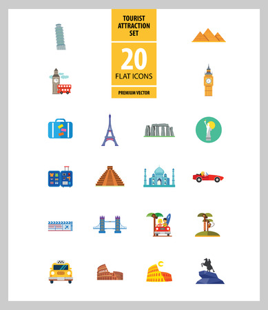 Tourist attraction icons set. Thirteen vector icons of Eiffel Tower, Big Ben, Pyramids and other tourist attractions Vectores