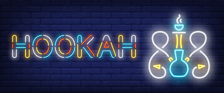 Hookah neon sign. Hookah with two hoses and smoking coal on brick wall background. Vector illustration in neon style for lounge, club, dating Vector Illustration