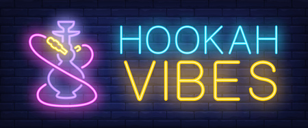Hookah vibes neon sign. Hookah with pink hoses on brick wall background. Vector illustration in neon style for lounge and club