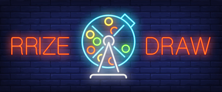 Prize draw neon sign. Lotto machine with balls inside on brick wall background. Vector illustration in neon style for game of chance