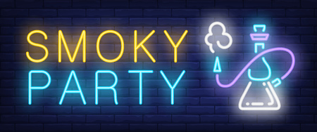 Smoky party neon sign. Hookah with smoking hose on brick wall background. Vector illustration in neon style for lounge, club, cafe