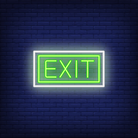 Green exit neon sign. Information design. Night bright neon sign, colorful billboard, light banner. Vector illustration in neon style.