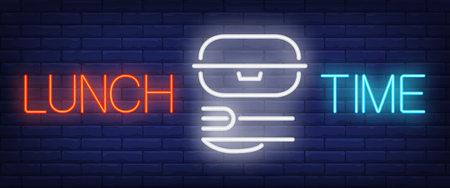 Lunch Time sign in neon style. Red and blue lettering with lunch box, fork and knife. Night bright advertisement. Vector illustration for takeout food and fast food restaurant Illustration