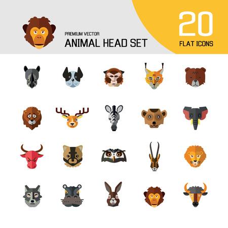 Animal head vector icon set. Cute wild cartoon animals, bear, monkey, lion, elephant, fox. Wildlife concept. Can be used for topics like mammals, zoo, safari, nature Stock Vector - 108355313