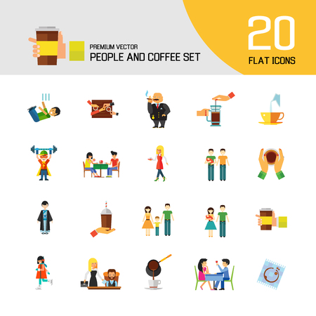 People And Coffee Icon Set. Takeaway Cup Rich Person Director Dinner Coffee On Napkin Coffee And Hands Pouring Milk Press Pot Waitress Pouring Drinking Coffee
