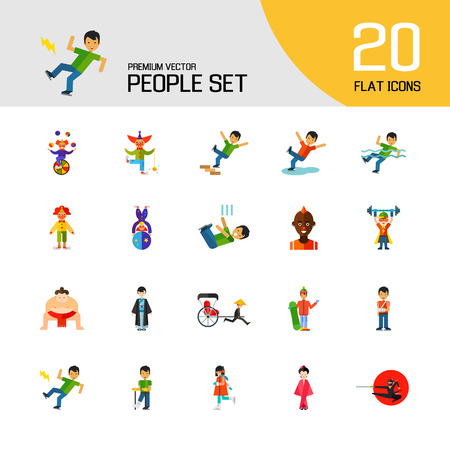 People icon set. Falling down the stairs, slipping, snowboarder, ninja. Extreme activity concept. Can be used for topics like caution, comics, freaks Vettoriali