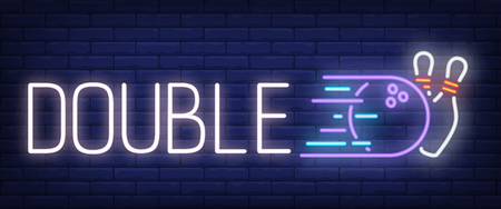 Double neon text with bowling strike. Bowling club and advertisement design. Night bright neon sign, colorful billboard, light banner. Vector illustration in neon style.