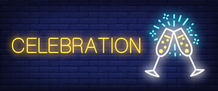 Celebration neon sign. Couple of Champaign flutes on brick wall background. Vector illustration in neon style for dating or holiday
