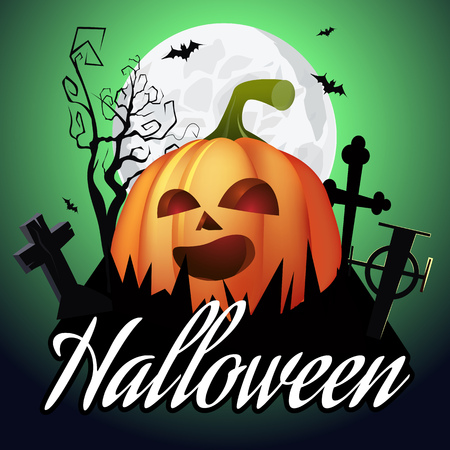 Halloween lettering. Jack o lantern on graveyard, tree, moon and bats on green background. Halloween night background. Vector illustration can be used for posters, flyers, greeting cards, websites