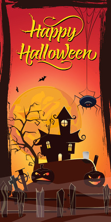 Happy Halloween lettering. Haunted house, pumpkins and spider at graveyard in red moonlight. Halloween night background. Holiday concept. Vector illustration can be used for posters, flyers, websites 向量圖像
