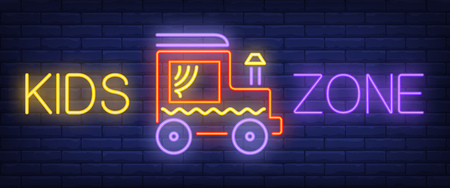 Kids zone neon text with toy car. Amusement park and advertisement design. Night bright neon sign, colorful billboard, light banner. Vector illustration in neon style.