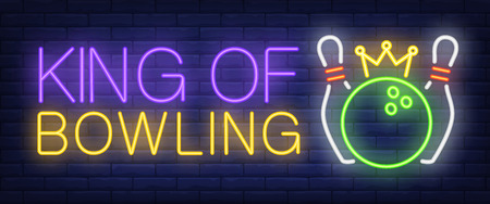 King of bowling neon text, skittles and ball with crown. Bowling club and advertisement design. Night bright neon sign, colorful billboard, light banner. Vector illustration in neon style.