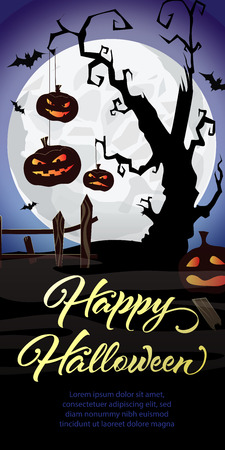 Happy Halloween lettering. Pumpkins on graveyard tree and bats in moonlight. Halloween night background. Vector illustration can be used for posters, flyers, greeting cards, websites