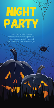 Night Party lettering. Pumpkins in grass and spider in cobweb on blue background. Holiday event invitation. Halloween concept. Vector illustration can be used for posters, flyers, banners