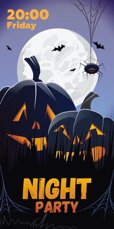 Night Party. Friday lettering. Pumpkins in grass, spider and bats in moonlight. Holiday event invitation. Halloween concept. Vector illustration can be used for posters, flyers, banners