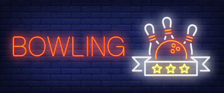 Bowling neon text with ball and skittles. Bowling club and advertisement design. Night bright neon sign, colorful billboard, light banner. Vector illustration in neon style.