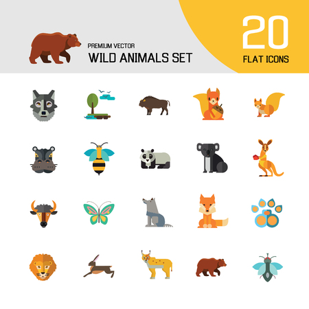 Wild Animals Icon Set. Bear Paw Trace Koala Hare Lynx Fox Squirrel Panda Squirrel With Nut Kangaroo Wolf Wisent