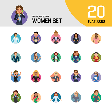 Women vector icon set. Doctor, excited, drinking, in glasses, Indian. Characters concept. Can be used for topics like occupation, race, activity, look, emotion Çizim