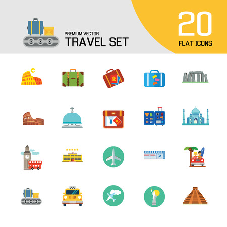 Travel icons set with airplane, flight ticket and suitcase. Thirteen vector icons