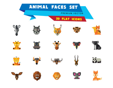 Animal Faces Icon Set. Lion Zebra Hippo Giraffe Wolf Elephant Antelope  Meerkat Doe Ox Red Lynx Bull Head Snout Muzzle Face Stock Vector - 109189890