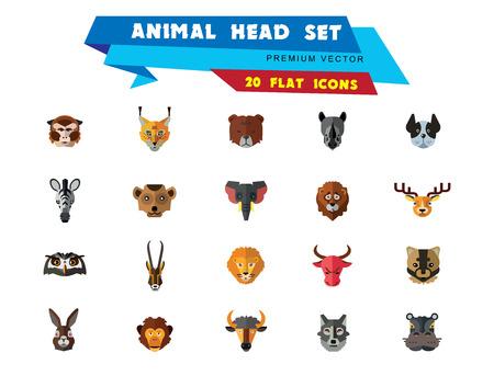Animal head vector icon set. Cute wild cartoon animals, bear, monkey, lion, elephant, fox. Wildlife concept. Can be used for topics like mammals, zoo, safari, nature Stock Vector - 109189892