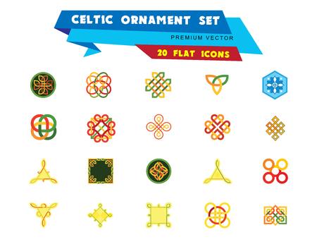 Conjunto de iconos de adorno celta. Infinito Infinito Eterno Nudo Decorativo Símbolo Budista Escudo Celta Símbolo Elemento Signo Ornamento Triqueta Cuaternario Ilustración de vector