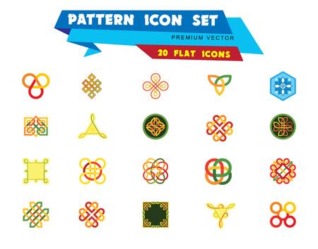 Muster-Icon-Set. Hexagon Infinite Traditional Knot Chinesisches Amulett Runde Kreatives Quadrat Muster Ewiger Knoten Dekoratives Element Glückverheißendes Symbol Endloser Knoten