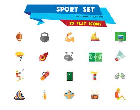 Sport vehicles icon set. Rugby ball, bike helmet, water skier. Activity concept. Can be used for topics like hobby, healthy lifestyle, sport outfit 免版税图像 - 109683953