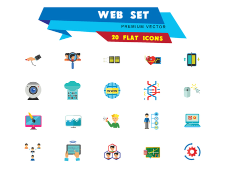 Web Icon Set. Internet Data Flow Web Camera Online Recruitment Server Man With Megaphone Strategic Control Changes Adaptation Cohesion Structure Inserting Design Computer Monitor Archivio Fotografico - 109683968