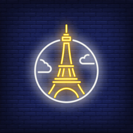 Eiffel tower neon sign. Luminous signboard with famous tower. Night bright advertisement. Vector illustration in neon style for French vacation, travel agency, architecture Ilustração