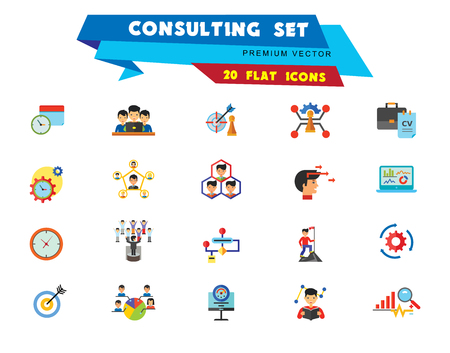 Consulting Icon Set. Changes Adaption Control Monitoring Strategic Management Strategy Focus Workflow Team Cohesion Team Creation Team Development Leader Training Electorate Bar Chart And Magnifier Stock Illustratie