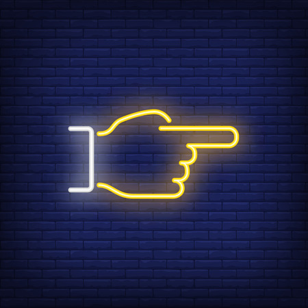Hand pointing aside neon sign. Luminous signboard with gesturing hand. Night bright advertisement. Vector illustration in neon style for aiming and direction