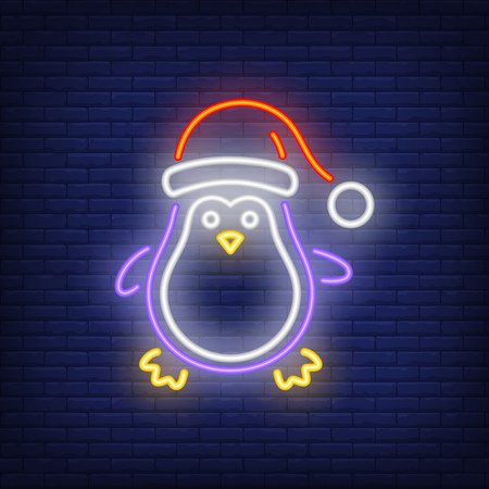 Christmas penguin neon icon. Cute cartoon character, Santa cap, hat. Christmas concept. Vector illustration can be used for street wall signs, billboards, banners