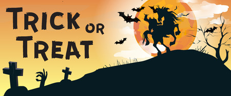 Trick or Treat lettering with Headless Horseman and graveyard. Invitation or advertising design. Typed text, calligraphy. For leaflets, brochures, invitations, posters or banners.