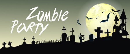 Zombie Party lettering with cemetery and moon. Invitation or advertising design. Handwritten text, calligraphy. For leaflets, brochures, invitations, posters or banners.