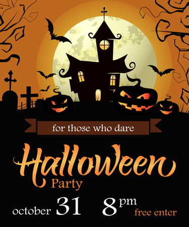 Halloween Party lettering with date, castle, pumpkins and moon. Invitation or advertising design. Handwritten text, calligraphy. For leaflets, brochures, invitations, posters or banners.