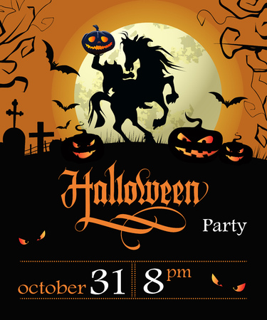 Halloween party lettering with date, headless horseman and moon. Invitation or advertising design. Handwritten text, calligraphy. For leaflets, brochures, invitations, posters or banners. 일러스트