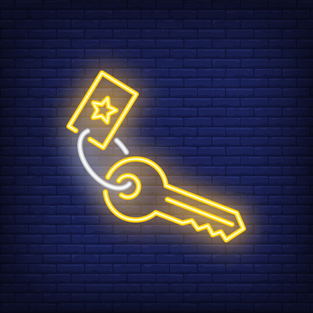 Key neon sign. Luminous signboard with trinket. Night bright advertisement. Vector illustration in neon style for property, mortgage, accommodation