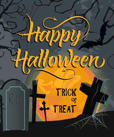 Happy Halloween, Trick or Treat lettering with moon and cemetery. Invitation or advertising design. Handwritten text, calligraphy. For leaflets, brochures, invitations, posters or banners. Иллюстрация
